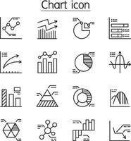 grafico, grafico, diagramma, icona di informazioni impostata in stile linea sottile vettore