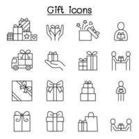 icona regalo impostato in stile linea sottile vettore