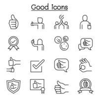 buono, approvare, confermare, verificare, icona di qualità impostata in stile linea sottile vettore