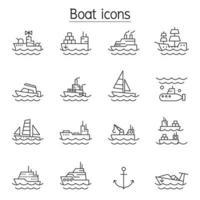 icone della barca impostate in stile linea sottile vettore