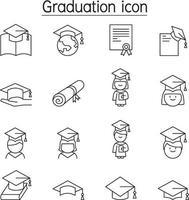 icona di laurea impostata in stile linea sottile vettore