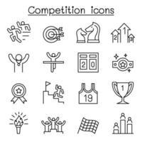 icona della concorrenza impostata in stile linea sottile vettore