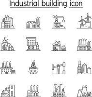 edificio industriale, fabbrica, icona della pianta impostata in stile linea sottile vettore