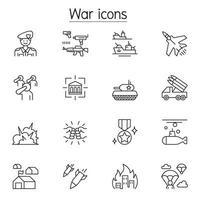 icone di guerra impostate in stile linea sottile vettore