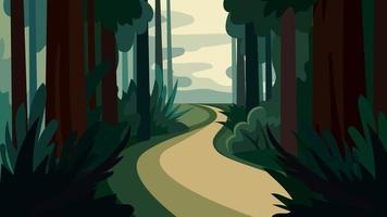 strada nella fitta foresta vettore