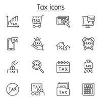 icone fiscali impostate in stile linea sottile vettore