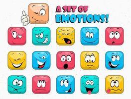 facce colorate divertenti del fumetto. affrontare le emozioni. espressione facciale. vettore