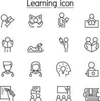 icona di apprendimento e lettura impostata in stile linea sottile vettore