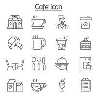 icone della caffetteria impostate in stile linea sottile vettore