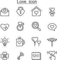 icona di amore impostato in stile linea sottile vettore