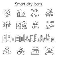 icona della città intelligente impostata in stile linea sottile vettore