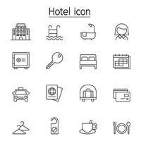 L'icona dell'hotel ha impostato nella progettazione grafica dell'illustrazione di vettore di stile della linea sottile