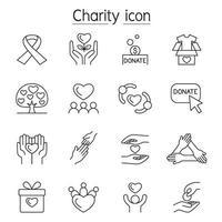 carità, donazione, icona di volontariato impostata in stile linea sottile vettore