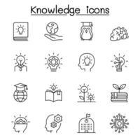 conoscenza, saggezza, creatività, icona idea impostata in stile linea sottile vettore