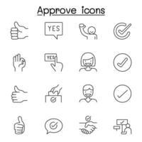 approvare, segno di spunta, icona di garanzia impostata in stile linea sottile vettore