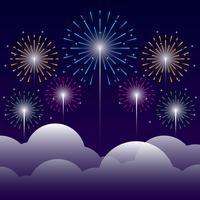 Fuoco d'artificio sull'illustrazione della priorità bassa di notte