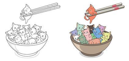 molti gatti nella ciotola dei cartoni animati da colorare facilmente pagina per bambini vettore