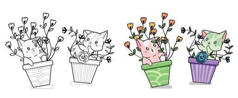 simpatici gatti con fiori pagina da colorare di cartoni animati per bambini vettore
