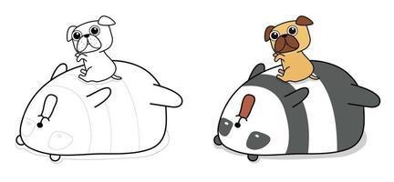 Pagina da colorare di cartoni animati panda e cane per bambini vettore