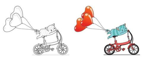 gatto sta andando in bicicletta con palloncini cuore pagina da colorare di cartoni animati per bambini vettore