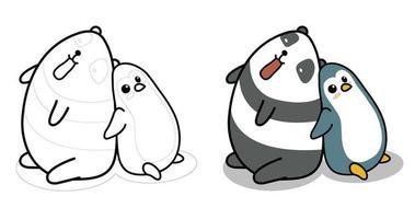 Pagina da colorare di cartoni animati panda e pinguino per bambini vettore