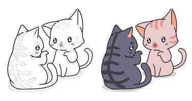 simpatici gatti stanno parlando pagina da colorare di cartoni animati per bambini vettore