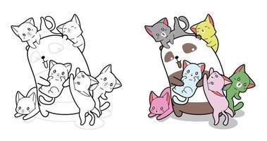 Pagina da colorare di cartoni animati di tre gatti per bambini vettore
