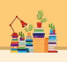 sala studio a casa con libri di design vettore