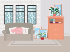 bella scena della casa del soggiorno vettore