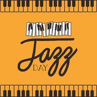 poster del giorno del jazz con tastiera di pianoforte vettore