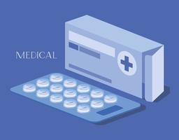 scatola della medicina con le pillole vettore