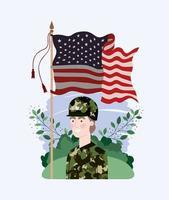 donna militare con bandiera usa nel campo vettore