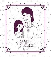 carta di felice festa del papà con papà e figlia vettore