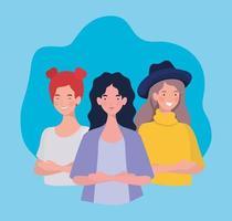 gruppo di giovani donne in piedi personaggi vettore