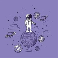 astronauta disegnato a mano con pianeti vettore