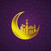 lanterne dorate del ramadan kareem e appendere la luna vettore