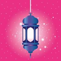 ramadan kareem lanterna blu appesa vettore