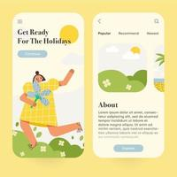 interfaccia utente per applicazioni mobili di viaggio, viaggio, turismo. set di schermate a bordo della pagina dell'app mobile. moderna illustrazione vettoriale. vettore