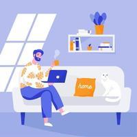 uomo seduto sul divano e lavora al computer portatile. lavoro da casa, lavoro a distanza. illustrazione vettoriale piatta.