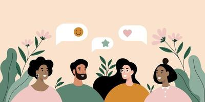 gruppo di persone che parlano. discussione, illustrazione di concetto di chat. vettore