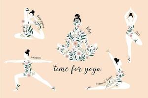 sagome di donne in piedi in diverse pose yoga. sagoma di posa del loto. motivo floreale. vettore