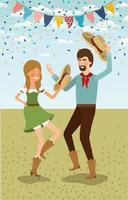 coppia di agricoltori che celebra con ghirlande vettore