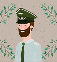 militare con cornice ghirlanda di foglie vettore