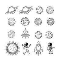 set di pianeti disegnati a mano vettore