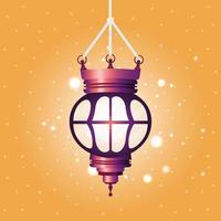ramadan kareem lanterna viola appesa vettore