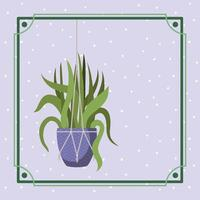 cornice con pianta d'appartamento in un appendiabiti macramè vettore