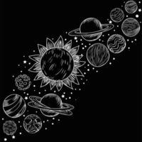 pianeti disegnati a mano vettore