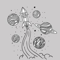 lancio di razzi disegnati a mano vettore