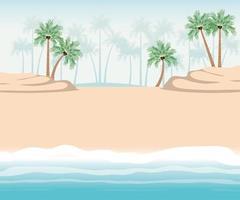 paesaggio spiaggia con palme vettore