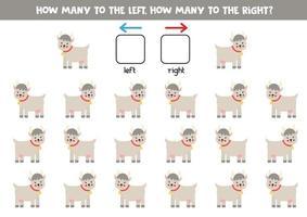 a sinistra oa destra con simpatica capra. foglio di lavoro logico per bambini in età prescolare. vettore